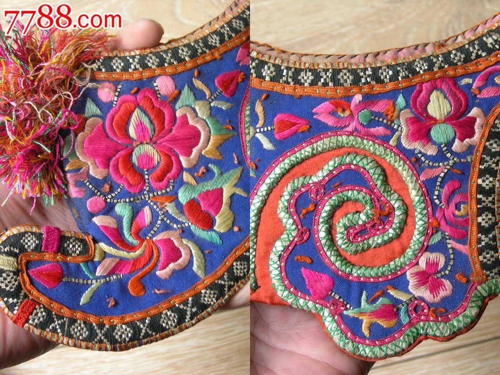 刺绣收藏1510a11-边疆早期民族地区厚底手工绣花彝族鸡冠帽