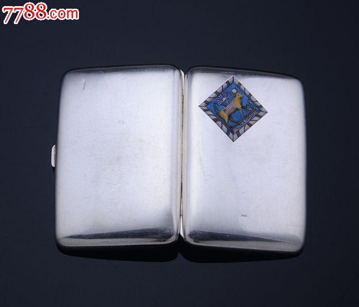 约110克德国出口埃及进口纯银珐琅彩神牛图案烟盒/烟丝盒西洋银器