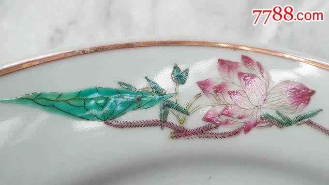 景德镇瓷盘精品六十年代新粉彩花卉大赏盘