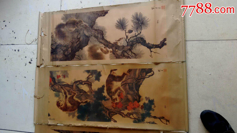 国画大师刘奎龄动物四条屏年画_价格230.