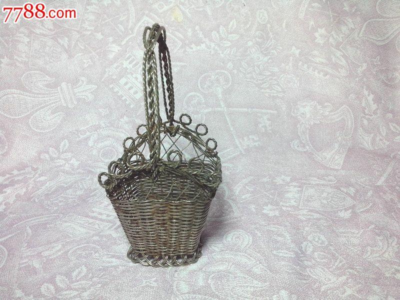 收藏怀旧手工铁丝编制花篮花器