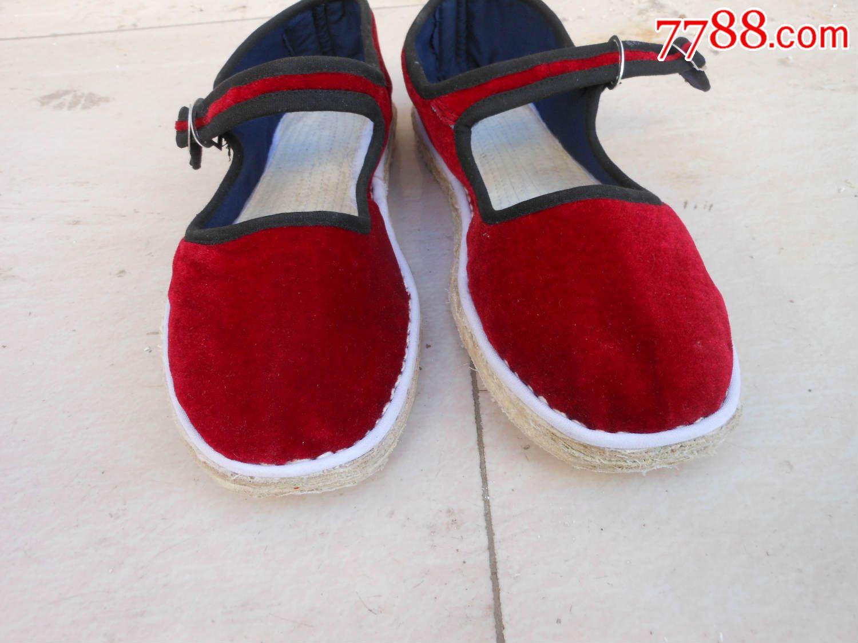纯手工制作布鞋;平绒金丝绒红色一带女士布鞋37码{崭新}{布底}