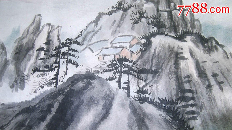 1987年老山水画四幅,临摹张大千,但有自己的风格,值得