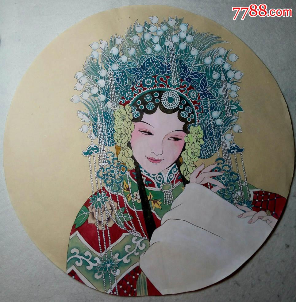纯手绘工笔重彩仕女图京剧人物贵妃