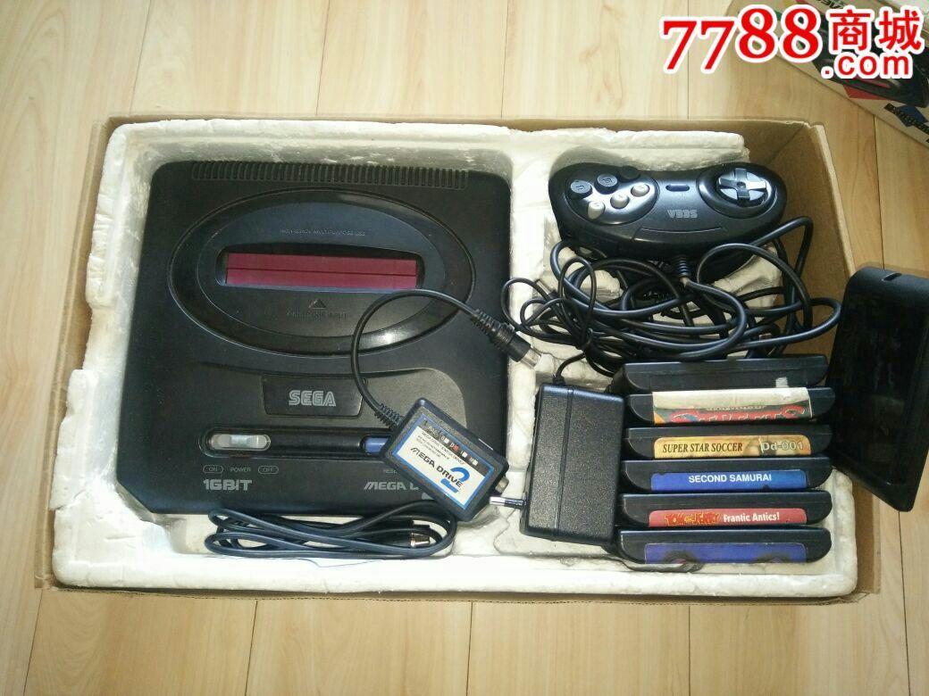 世嘉md2世嘉游戏机带盒送卡带7盘