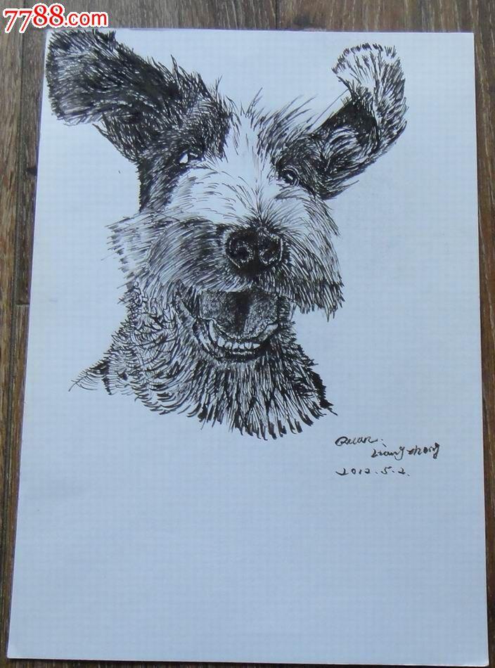 钢笔动物原画稿【狗狗】_素描/速写_藏泉阁【7788收藏