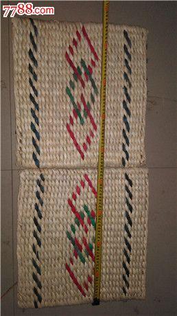 手工编玉米皮坐垫一对_植物编织工艺品_古典家俱