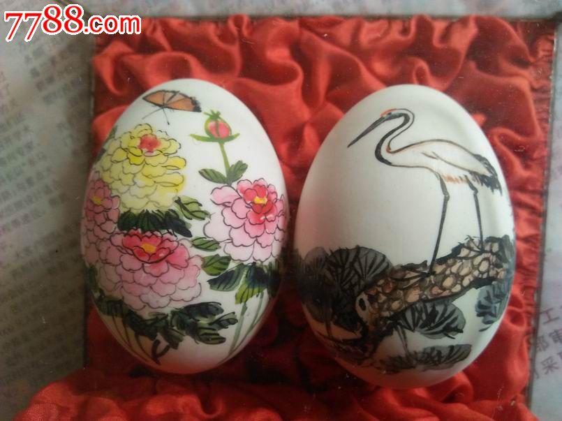 文革手绘花鸟彩蛋