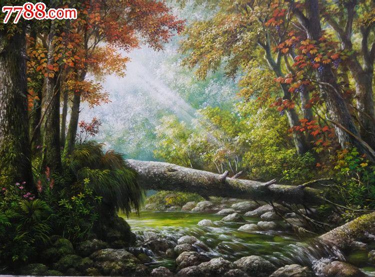 朝鲜风景油画五家山的秋天
