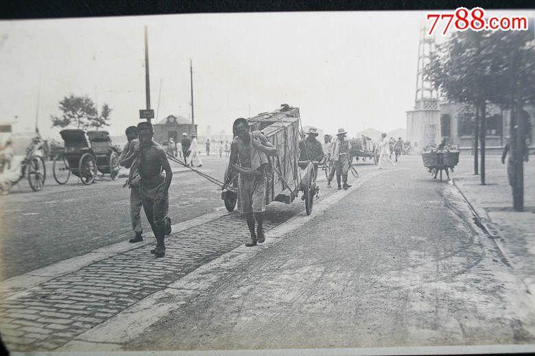 新品包邮民国上海街道上拉大石板的劳工木板车