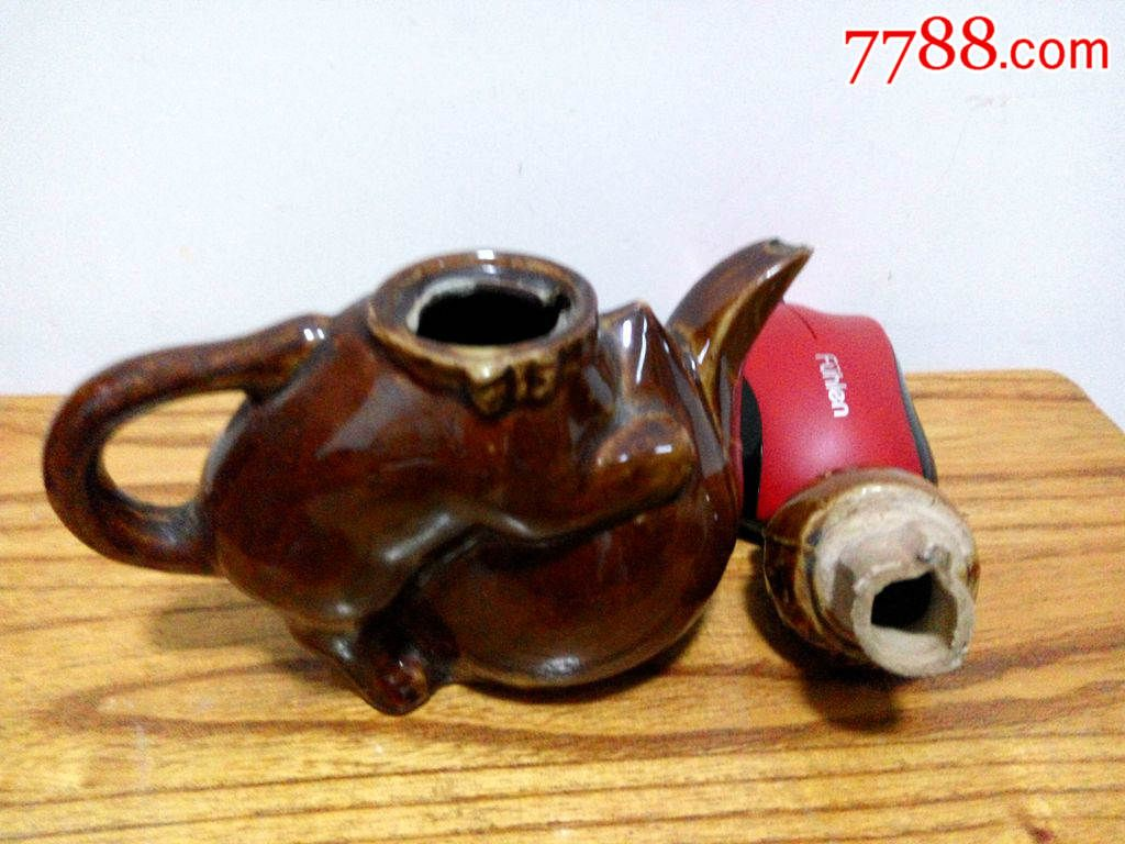 60-70年代文革瓷器动物摆件猫壶