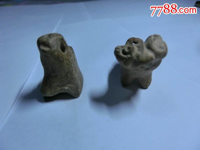 汉代立体小动物陶哨和宋代动物哨一组