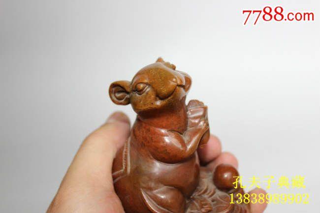 天然老寿山石芙蓉石摆件兔子招财图全手工雕刻生肖兔子