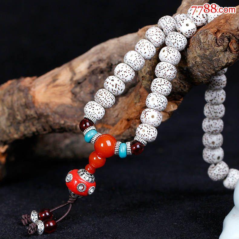 海南星月菩提108颗正月桶珠创意灯笼菩提手链,6*8mm创意灯笼菩提