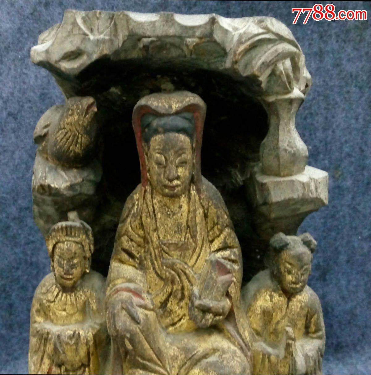 清代金漆木雕观音像_木佛像/人像_集古聚今【7788收藏