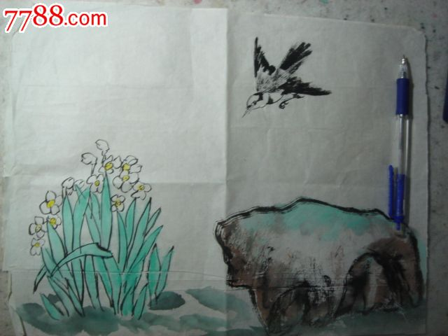 写意画法,,2010-2019年,,其他尺寸,,未装裱,,宣纸, 简介: 小鸟与水仙