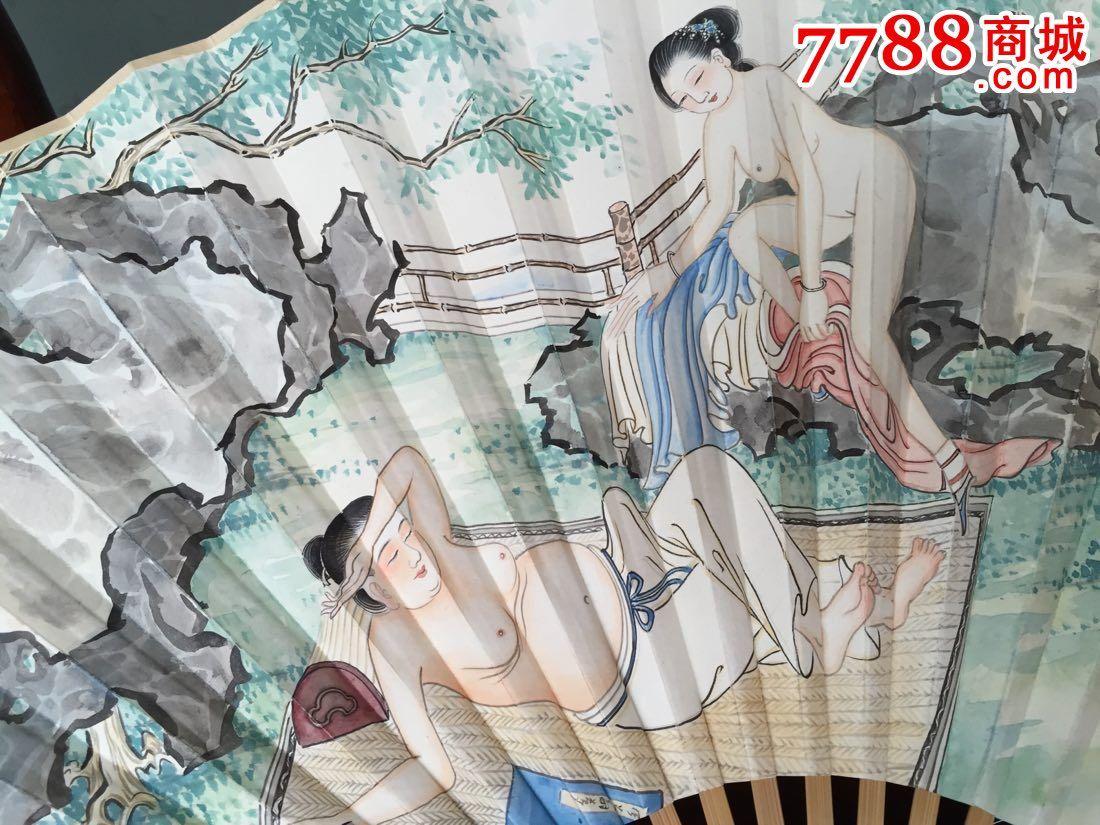 纯手绘古代爱情故事人物扇画