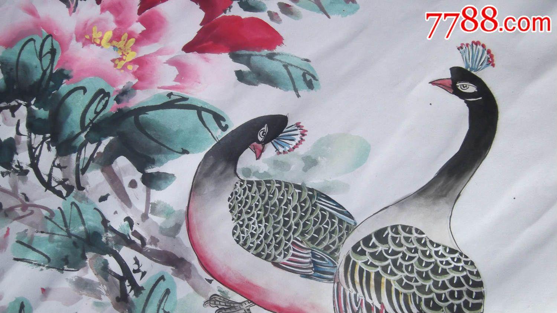 旧花鸟画国画写意孔雀牡丹图,原来的装裱现在不行了,没有落款
