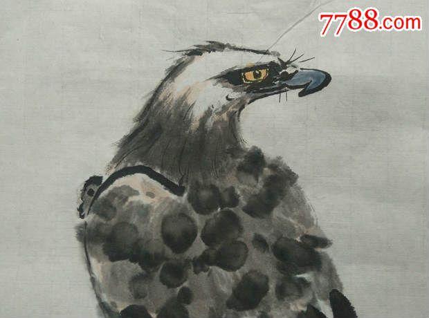 高瞻远瞩的手绘雄鹰纹水彩画