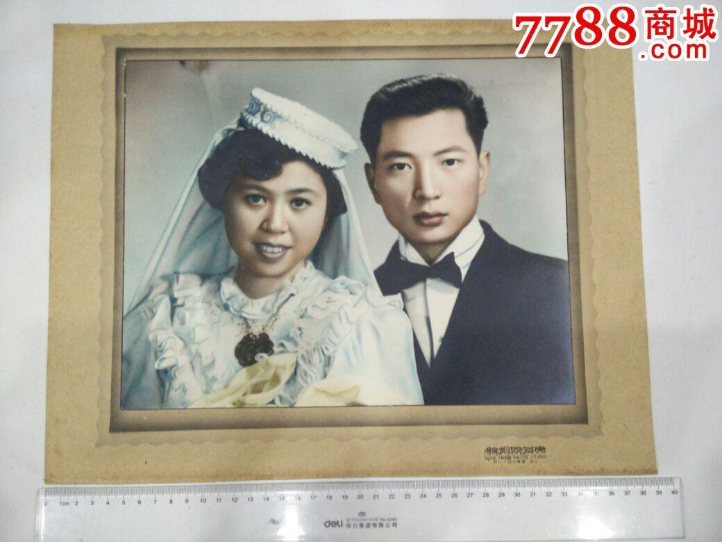 民国老上海摄影名楼良友照相馆大幅婚纱照两张