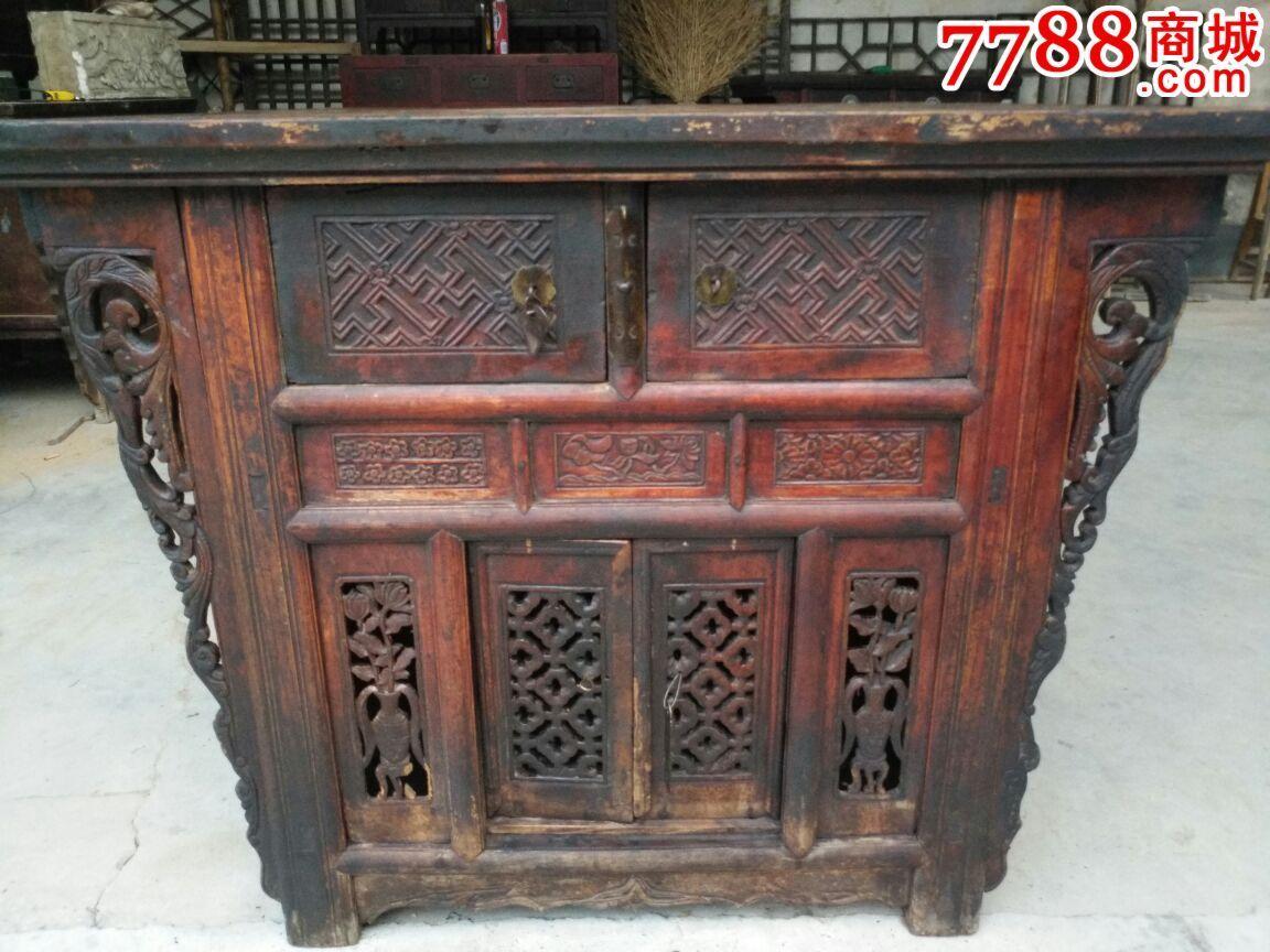古家具老家具,透雕木柜供桌