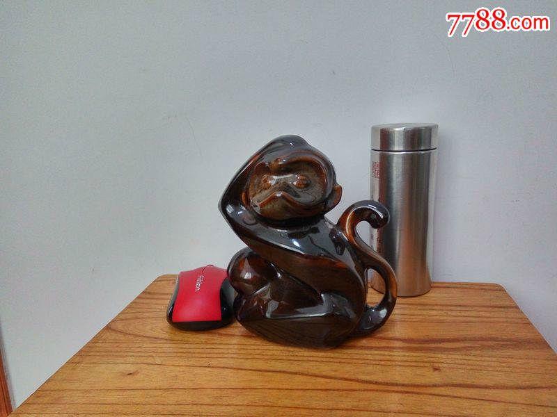 70-80年代老美陶动物瓷器摆件十二生肖猴