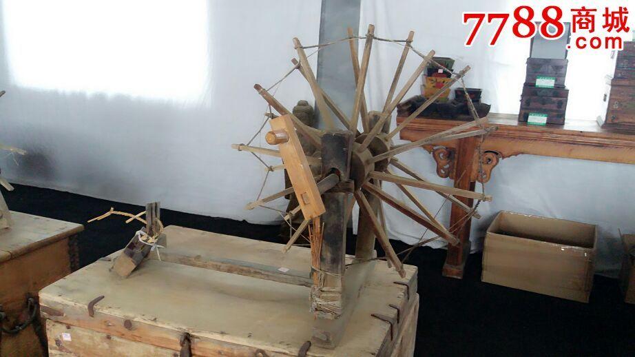 老纺线车纺花车手工纺棉车老手摇纺车图片