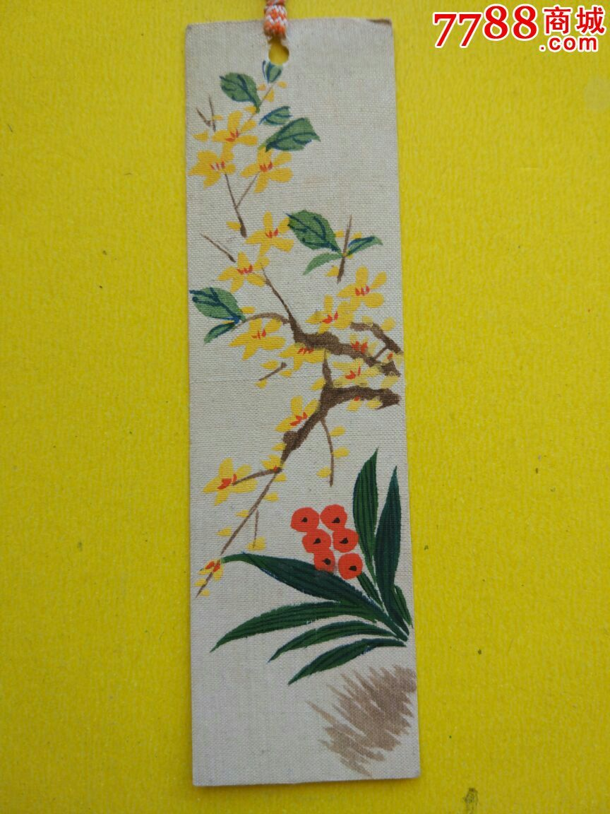 手工制作手绘书签绢画