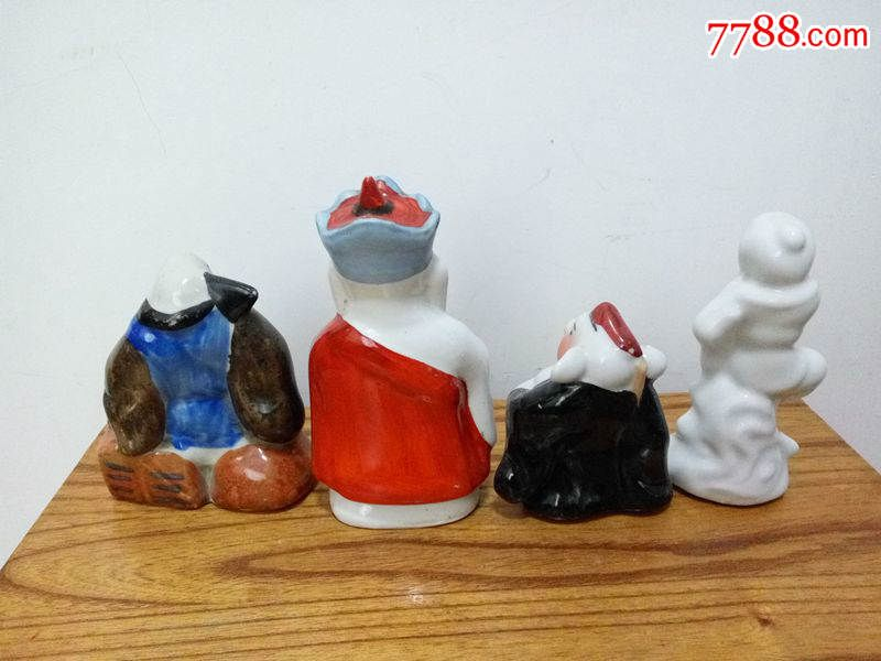 70年代动物瓷器陶瓷非韩美林摆件西游记人物师徒四人