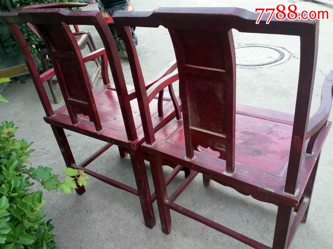 解放初期手工打造老椅子一对带雕工凳子老家具民俗文化展览摆件老
