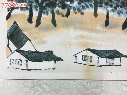 白石涂鸦山水村庄画