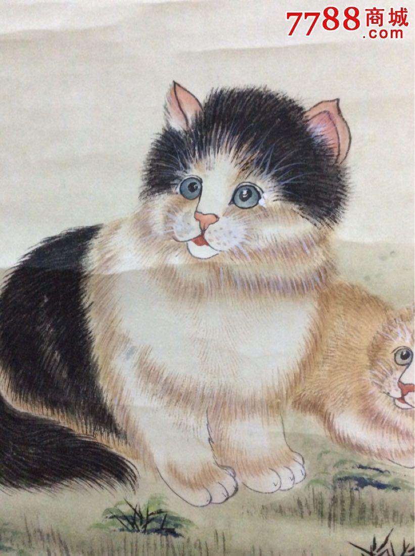 工艺美术〈金梦石款〉工笔画〈猫〉