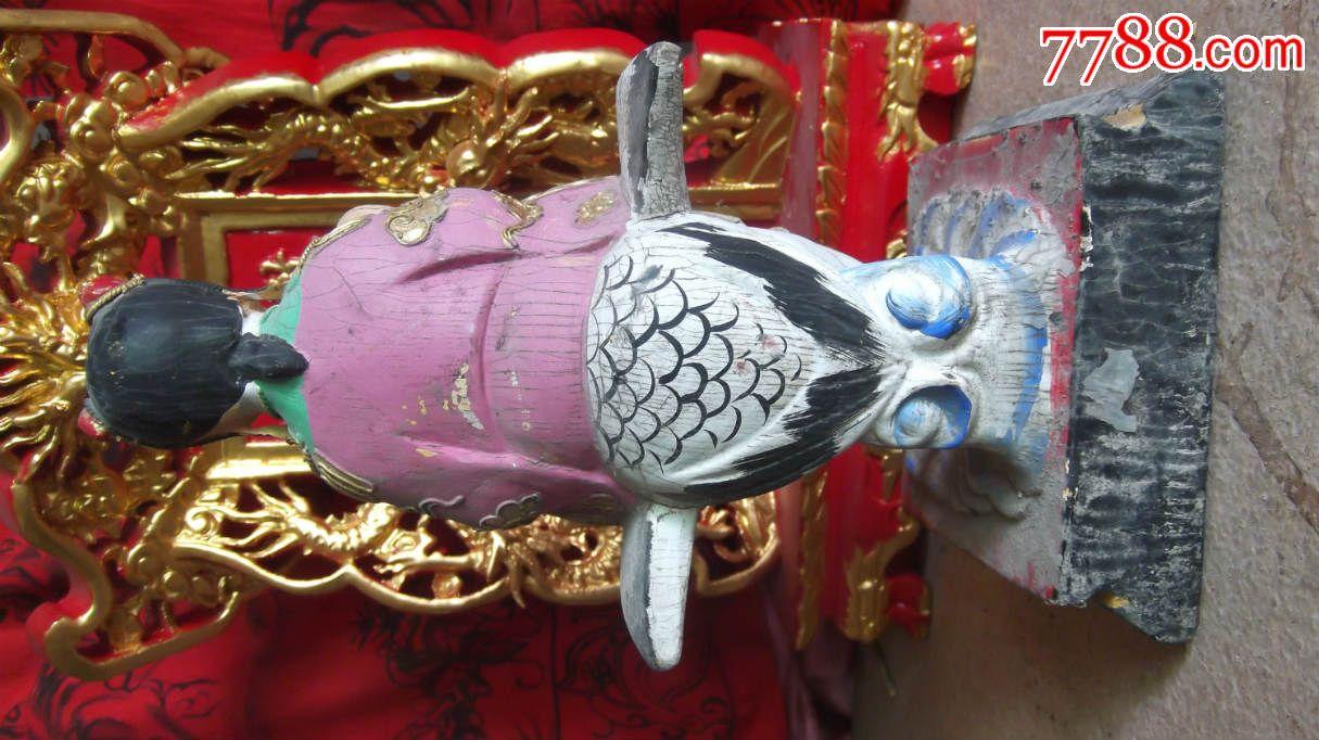 木雕神仙童子仙女骑在仙鹤上,仙鹤头断了打有竹钉,保内全实木