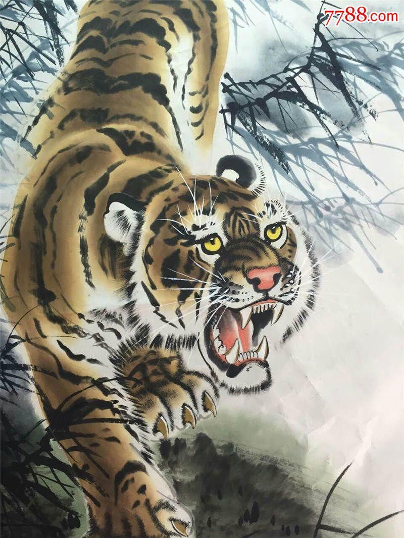 著名画家谭乐丹作品《下山虎》