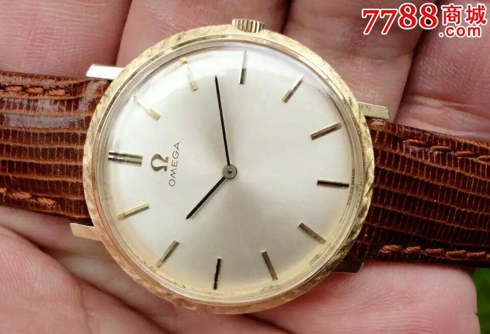 瑞士古董欧米茄14k实金620两针手卷机械手表图片