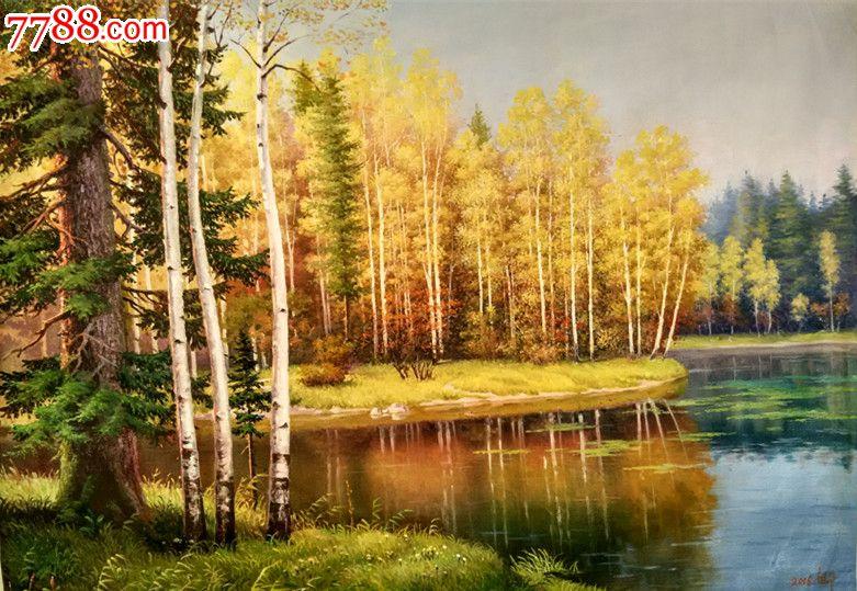 朝鲜风景油画湖畔