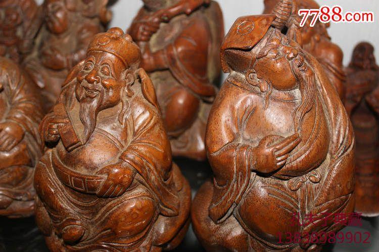 老竹雕竹根雕八仙过海一套全手工雕刻包浆厚重古玩收藏