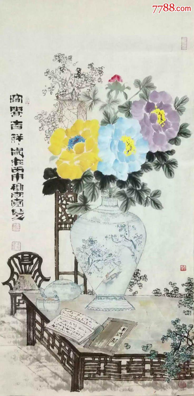 国画名家郑守宽三尺竖幅独创彩色牡丹富贵吉祥花瓶小写意图片
