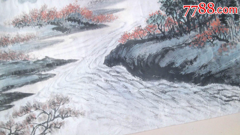 1996年画的山水画国画,局部小瑕疵,带房子桥流水树木挺浪漫的