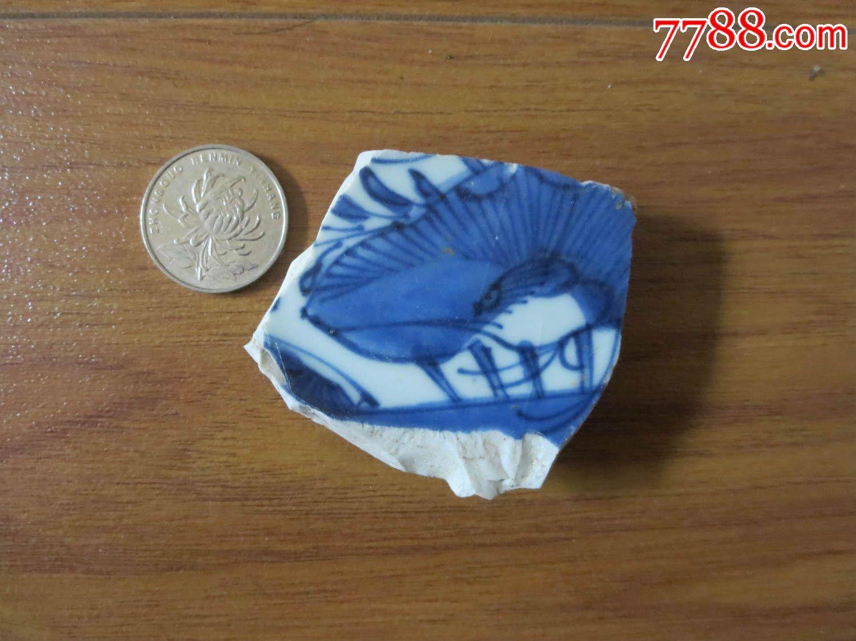 明清青花动物纹瓷片