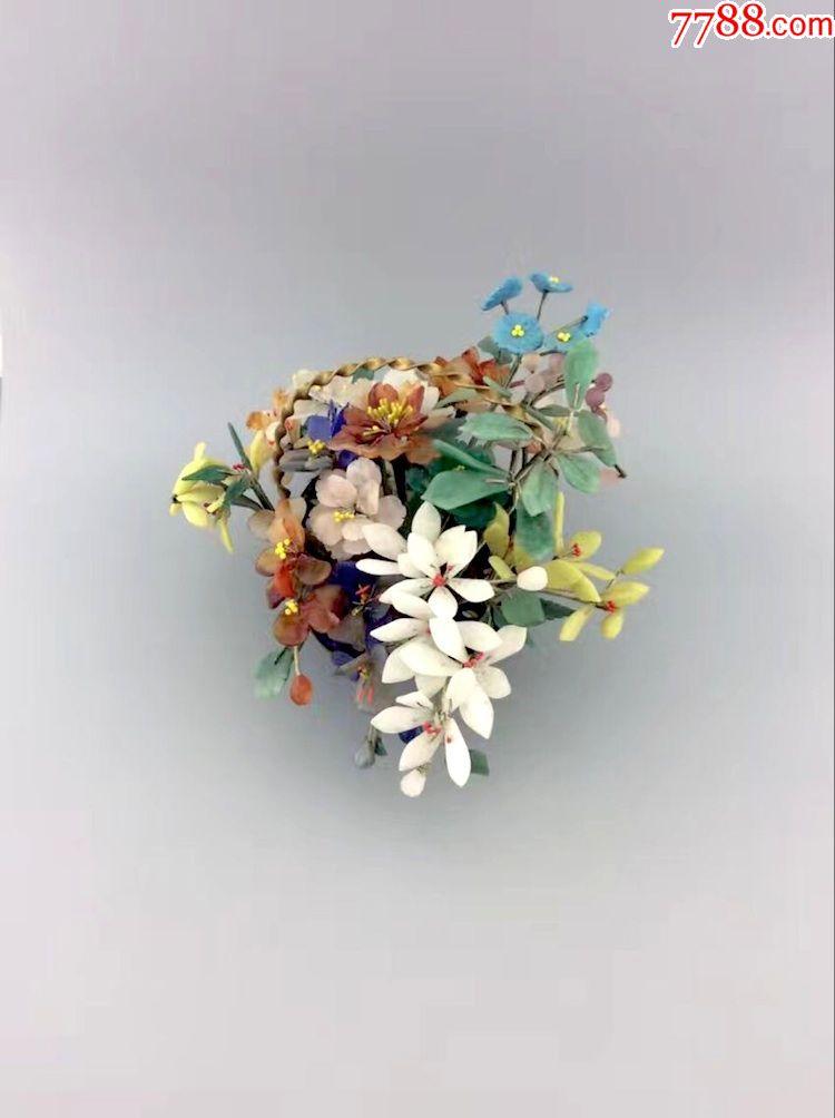七八十年代出口创汇玉石花盆景景泰蓝花摆件玉石玛瑙黄玉地方玉图片