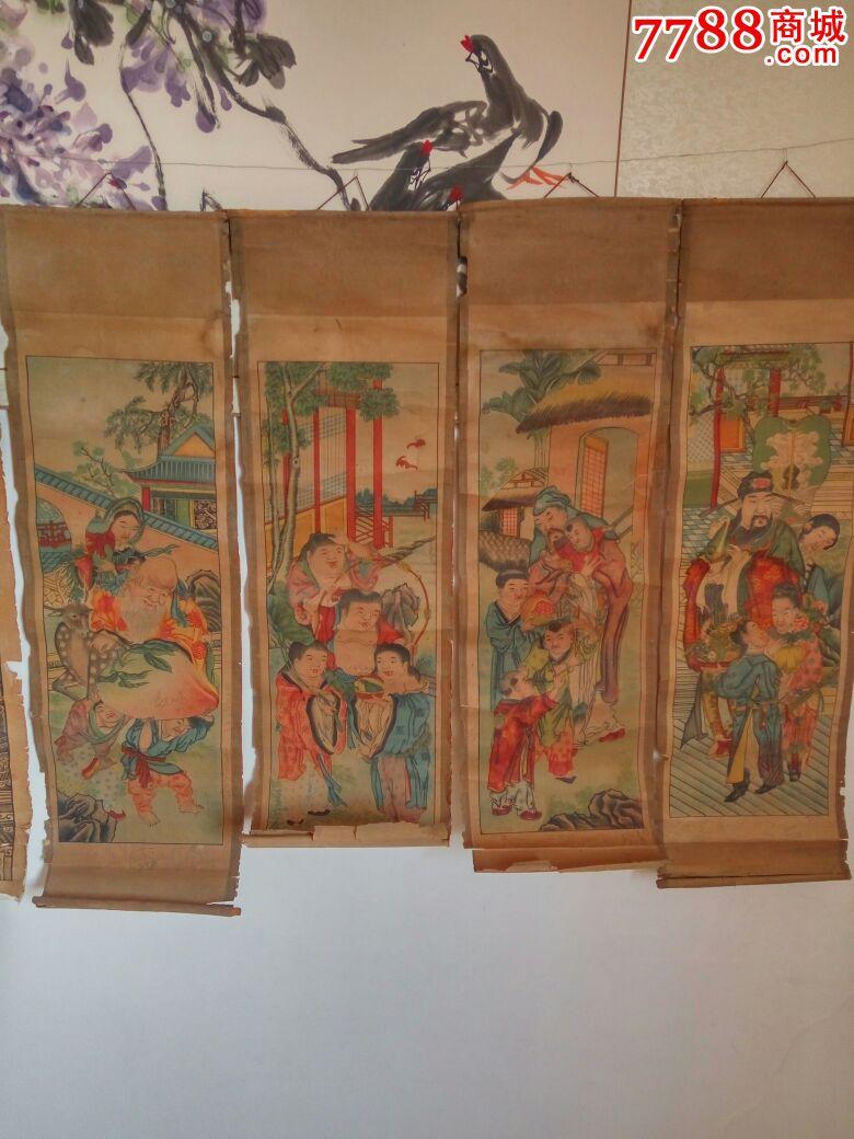 8条木版屏风画图片