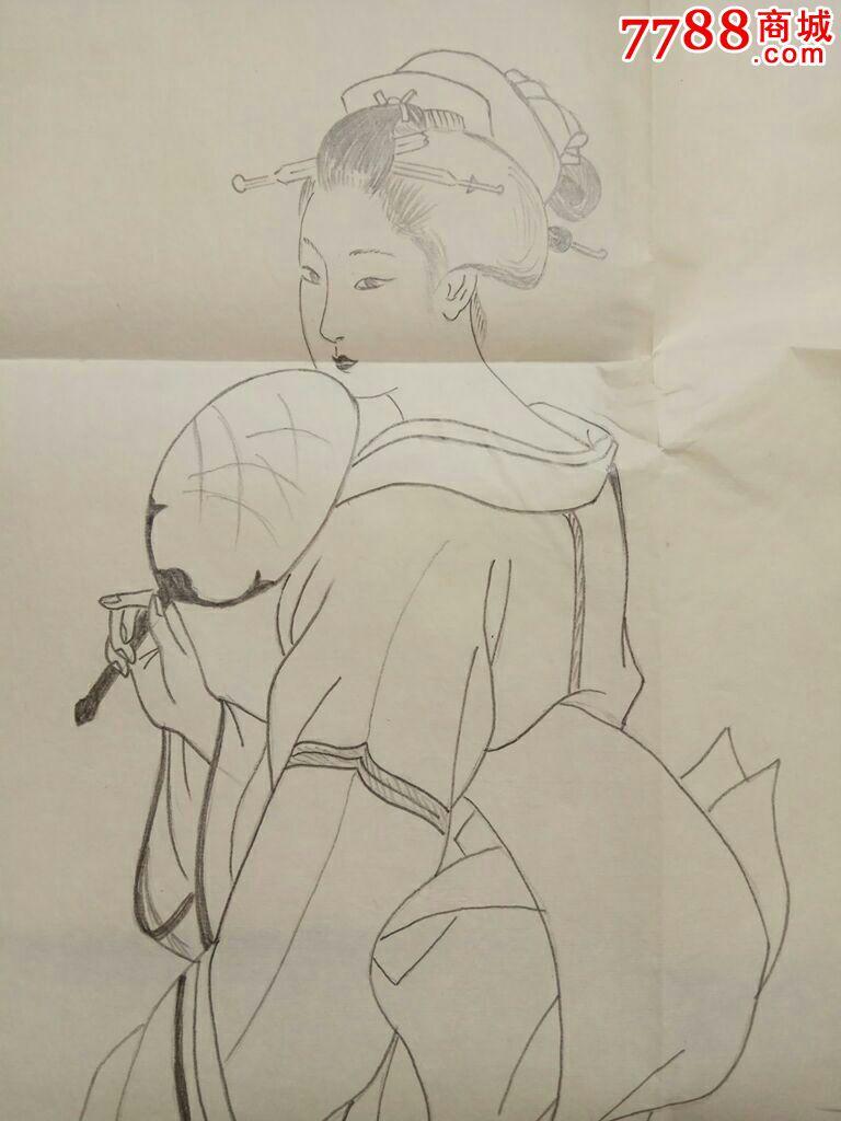 和服美女铅笔画原稿