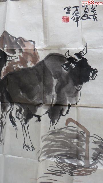着名画家丁荦先生画牛作品尺寸45cmx68cm!图片