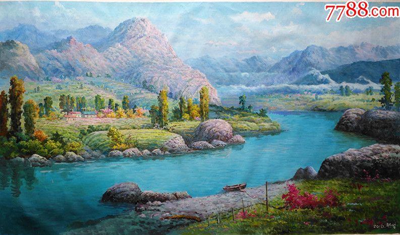 朝鲜风景油画秋霜的早晨