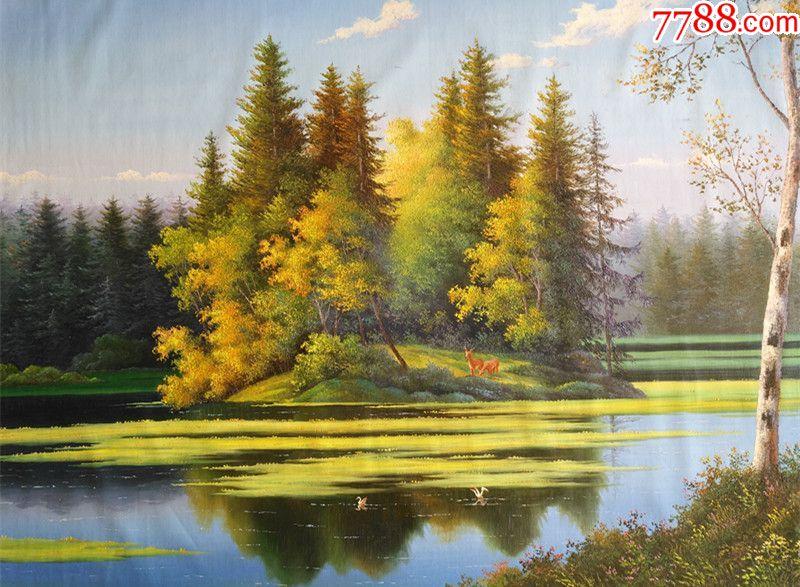 朝鲜一级画家哲国风景油画林间小鹿