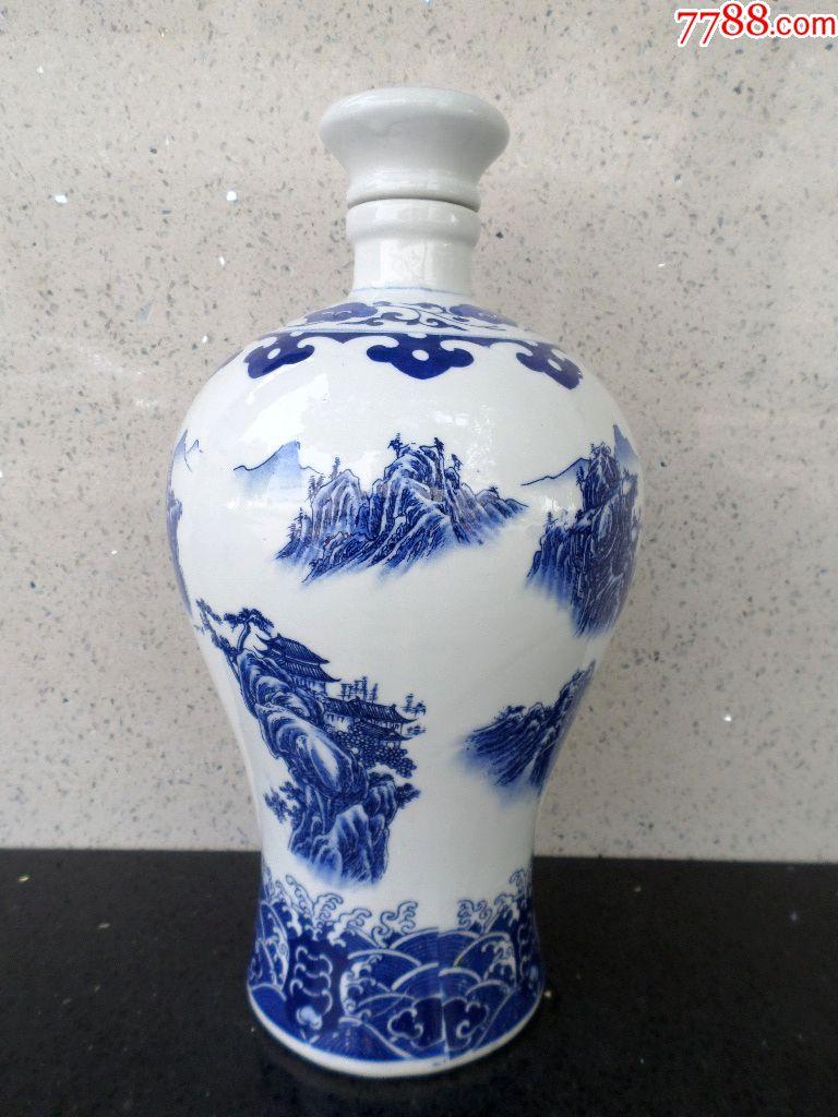 杂项瓷器陶瓷酒文化用品酒壶酒杯酒器皿大青花山水风光瓷酒瓶_价格160