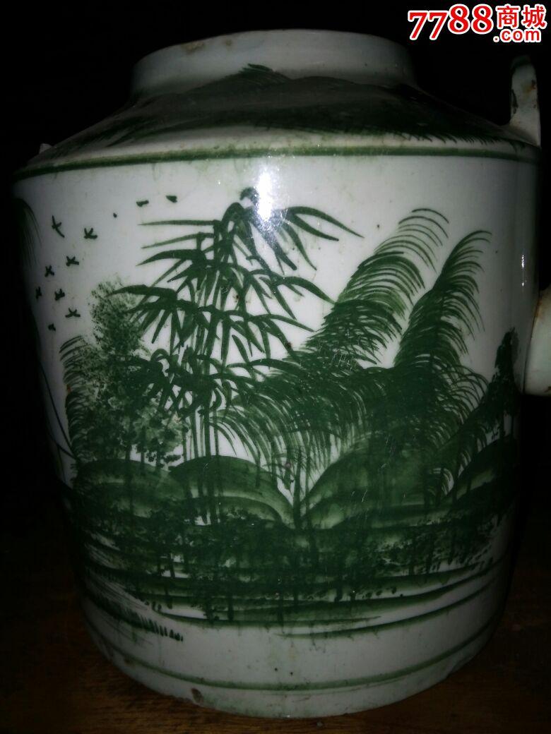 绿釉山水风景画茶壶