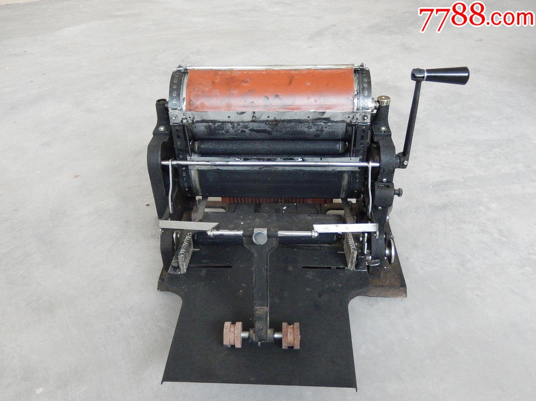 老印刷机、油印机老设备、长城牌21型速印机鸡蛋花头花图片