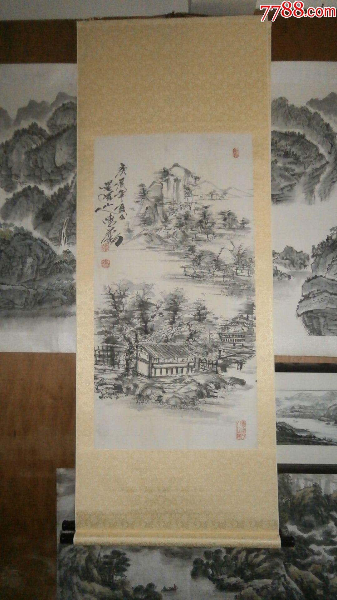 写意画水墨画山水画国画,卷轴装裱好的挂轴字画,墨道山人画的